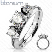 Triple Clear Round Cut CZ with Bell Engraved Center Line Engagement Titanium Ring