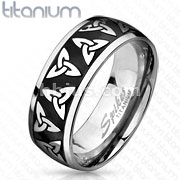 Celtic Trinity Knott Etched Black IP Titanium Ring