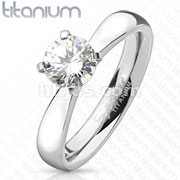 Round Cut Solitaire CZ Engagement Titanium Ring