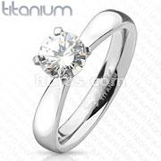 Round Cut Solitaire CZ Engagement Titanium Ring