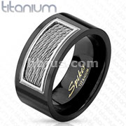 Center Silver Cables Inlay Black IP Titanium Ring