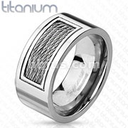 Center Silver Cables Inlay Titanium Ring