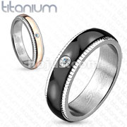 Groove Line Edge with Solitaire CZ Black IP Titanium Ring