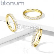 CZ Around PVD Gold on Solid Titanium Eternity Band Rings