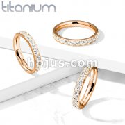 CZ Around PVD Rose Gold on Solid Titanium Eternity Band Rings