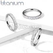 CZ Around Solid Titanium Eternity Band Rings