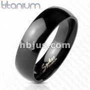 Glossy Mirror Polished Black IP Solid Titanium Classic Wedding Band Ring