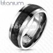 Carbon Fiber Inlay Band Ring Solid Titanium