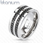 Double Chain Links Black IP Band Ring Solid Titanium