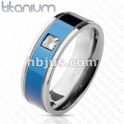 Square CZ Centered Two Tone Blue IP Band Ring Solid Titanium