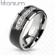 CNC Set Lined CZ / Black PVD Center Stepped Edges Solid Titanium Rings