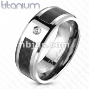 Black Carbon Fiber Inlay CZ Center Band Ring Solid Titanium