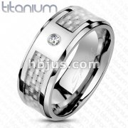 White Silver Carbon Fiber Inlay CZ Center Band Ring Solid Titanium