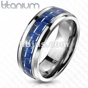Solid Titanium Blue Carbon Fiber Inlay Band Ring