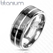 Carbon Fiber Inlay with Slit Center Band Ring Solid Titanium