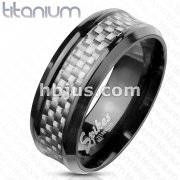White Silver Carbon Fiber Inlay Center Band Ring Black IP Titanium
