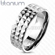 Solid Titanium Pyramid Spikes Wide Band Ring