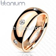 CZ Set Around Solid Titanium Rose Gold IP Classic DomeBand Ring