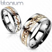 Solid Titanium Rose Gold IP Grooved Center Band Ring
