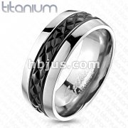 Titanium Black IP Centered with Diagonal Cut Pattern Ring
