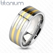 Two-Toned Silver and Gold IP Lines Solid Titanium Ring