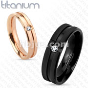 Grooved Center with Clear CZ Solid Titanium Ring