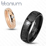 Black IP with CZ Forever Love Solid Titanium Ring