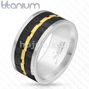 Black & Gold Gear Center Spinner Solid Titanium Ring
