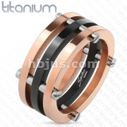 Duo Toned Black and Rose Gold IP with Screw Rings Solid Titanium Ring