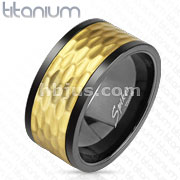 Black and Gold IP Hammered Spinner Solid Titanium Ring