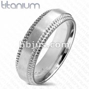 Brushed Finish with Chiseled Step Edge Band Solid Titanium Ring