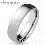 Solid Titanium Rings Classic Dome Rings Brushed Finish Surface/Shiny Polished Inside