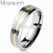 Gold IP Grooved Centered Line Solid Titanium Ring