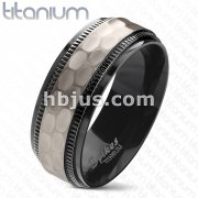 Hammered Centered Black PVD Plated Two Tone Chiseled Step Edge Solid Titanium Ring