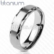 Brushed Finish Center with Tribal Edge Solid Titanium Ring