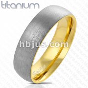 Dome Two Tone Gold IP Inside and Steel Brushed Finished Outside Titanium Ring