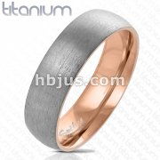 Dome Two Tone Rose Gold IP Inside and Steel Brushed Finished Outside Titanium Ring