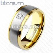 Single CZ Two Tone Gold IP Edge Steel Brushed Finished Center Solid Titanium Ring