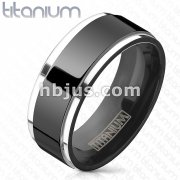 Titanium Black IP Center Two Tone Ring with Step Edges
