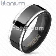 Titanium Black IP Center Two Tone Ring with Step Edges
