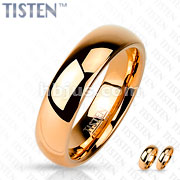 Glossy Mirror Polished Rose Gold IP Tisten Band Ring
