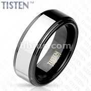 Inner Black IP Two Tone with Step Edges Tisten Band Ring