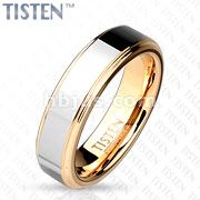 Inner Rose Gold IP Two Tone with Step Edges Tisten Band Ring