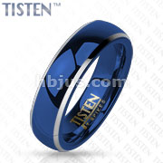 Glossy Mirror Polished Blue IP Dome Band Tisten Ring
