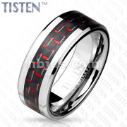 Black/Red Carbon Fiber Inlay Tisten Band Ring