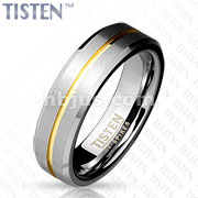 Flat Matte and Gold IP Striped Groove on Center with Beveled Edge Tisten Ring