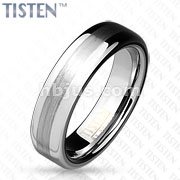 Brushed Metal Center of Dome Tisten Band Ring