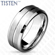 Flat Matte and Grooved Line Center with Beveled Edge Tisten Band Ring