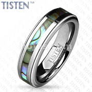 Centered Abalone Inlay with Step Edges Tisten Ring