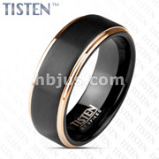 Matte Black Center And Rose Gold Stepped Edges Tungsten Titanium Alloy TISTEN Rings